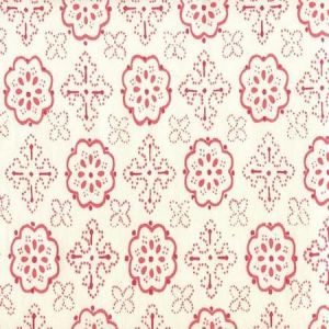 306305CTTN CRAWFORD Multi Reds on White Quadrille Fabric