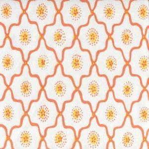 306320C-02CTT LONGFELLOW Orange Yellow on White Cotton Quadrille Fabric