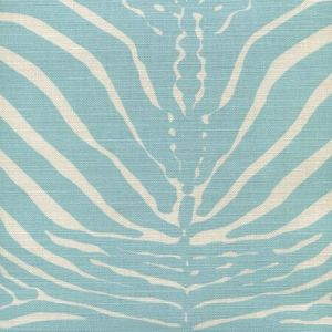 306370F-03 ZEBRE New Blue on Tinted Quadrille Fabric