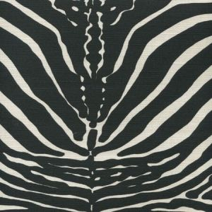 306370F-10 ZEBRE Black on Tinted Quadrille Fabric