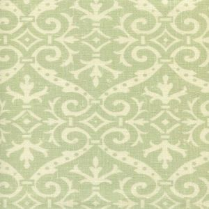 306495F-04 FRENCH DAMASK REVERSE Soft French Green on Tint Quadrille Fabric