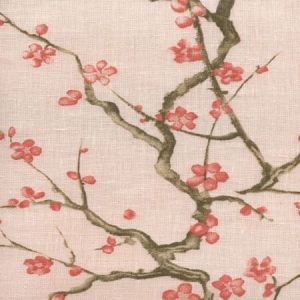 306500C-04 CHERRY BRANCH Pale Pink Curtain Linen Quadrille Fabric