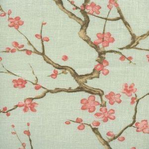306500C-05 CHERRY BRANCH Pale Celadon on Curtain Linen Quadrille Fabric