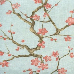 306500C-06 CHERRY BRANCH Pale Blue Curtain Linen Quadrille Fabric