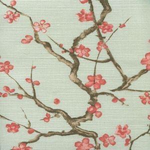 306505F CHERRY BRANCH Pale Celadon on Linen Cotton Quadrille Fabric
