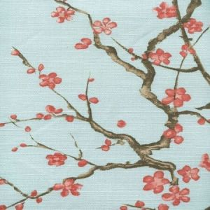 306506F CHERRY BRANCH Pale Blue Linen Cotton Quadrille Fabric