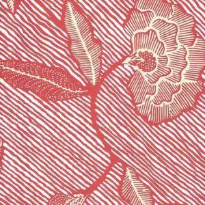 4060M-07WP FLORES II Shrimp Cream On White Quadrille Wallpaper