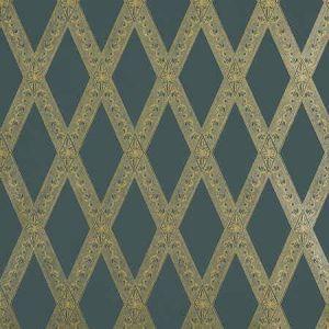 5011362 LES LOSANGES TOILE Gold On Black Schumacher Wallpaper