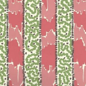 5060-02WP BIJOU STRIPE Jungle Green New Shrimp Brown Quadrille Wallpaper