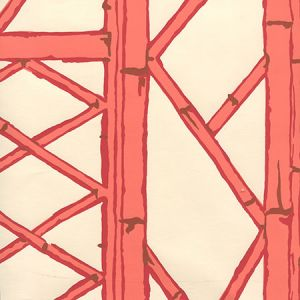 6020W-04 LYFORD TRELLIS Beige Tangerine Red Merlot On Cream Quadrille Wallpaper
