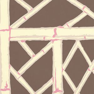 6020W-05 LYFORD TRELLIS Brown Beige Taupe Pink Quadrille Wallpaper