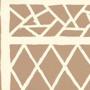 6025-02WP TRELLIS BACKGROUND Camel Ii On Off White Quadrille Wallpaper