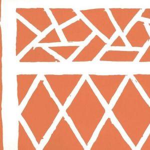 6025-05AWP TRELLIS BACKGROUND Orange On Almost White Quadrille Wallpaper
