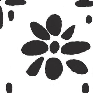 6380-15WP WILDFLOWERS II Black On White Quadrille Wallpaper