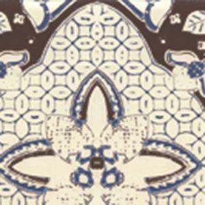 6430-07WP NEW BATIK Brown Navy On Off White Quadrille Wallpaper