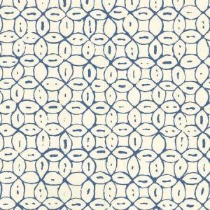 6450-05WP MELONG BATIK Navy On Off White Quadrille Wallpaper