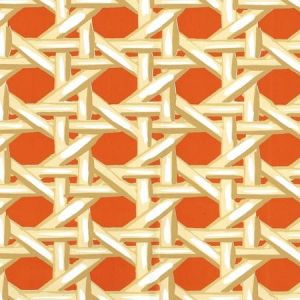 6480WP-01 CLUB CANE Cream Taupe Orange Quadrille Wallpaper