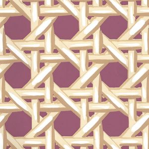 6480WP-06 CLUB CANE Cream Taupe Eggplant Quadrille Wallpaper