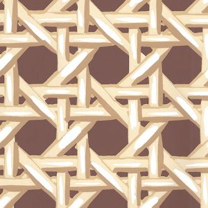 6480WP-11 CLUB CANE Cream Taupe Brown Quadrille Wallpaper