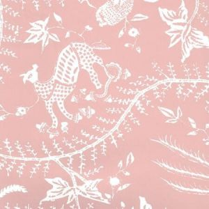 6780WP-06W CIREBON REVERSE Old Pink On White Quadrille Wallpaper