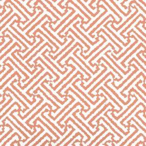 6890WP-13 JAVA JAVA Salmon Orange On White Quadrille Wallpaper