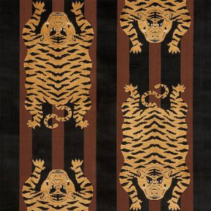 77232 JOKHANG TIGER VELVET Brown Black Schumacher Fabric