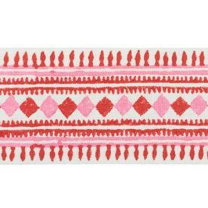 77331 TOULA HAND BLOCKED LINEN TAPE Red & Pink Schumacher Trim