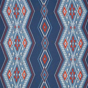 78150 BAYETA EMBROIDERY Blue Red Schumacher Fabric