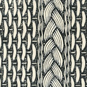 8400WP-01 NEWPORT RATTAN Black Gray On White Quadrille Wallpaper
