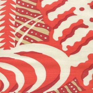 AC100-14 FERNS Orange Beige Red on Tint Quadrille Fabric