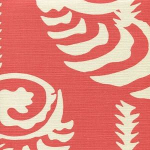 AC101R-04 FERNS UNI REVERSE Coral on Tint Quadrille Fabric