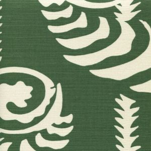 AC101R-10 FERNS UNI REVERSE Forest Green on Tint Quadrille Fabric