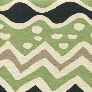 AC103-19 CAP FERRAT Jungle Green Taupe with Black on Tint Quadrille Fabric