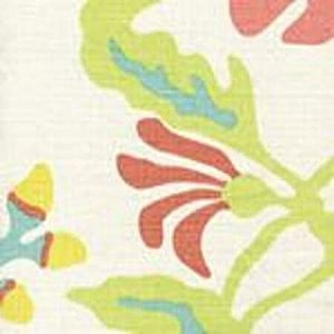 AC804-21 POTALLA Aqua Lime Yellow on Tint Quadrille Fabric