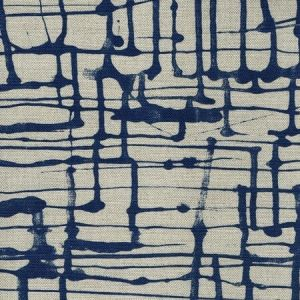 AC993-09 TWILL New Navy on Oatmeal Quadrille Fabric