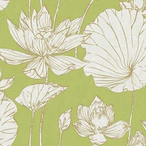 AI42304 Lotus Floral Metallic Gold and Lime Green Seabrook Wallpaper