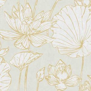 AI42305 Lotus Floral Metallic Gold and Off-White Seabrook Wallpaper