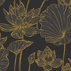 AI42306 Lotus Floral Metallic Gold and Ebony Seabrook Wallpaper
