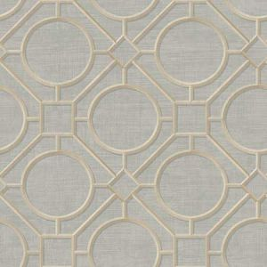 AI42401 Silk Road Trellis Metallic Gold and Gray Seabrook Wallpaper
