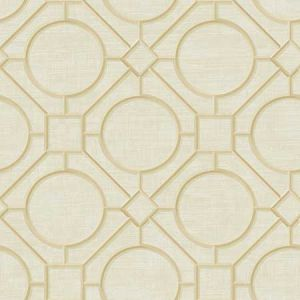AI42404 Silk Road Trellis Metallic Gold and Linen Seabrook Wallpaper