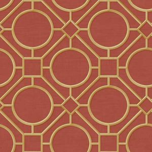 AI42408 Silk Road Trellis Metallic Gold and Crimson Seabrook Wallpaper