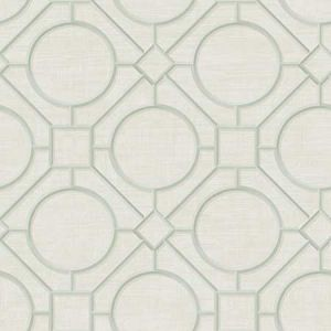 AI42414 Silk Road Trellis Metallic Mint and Off-White Seabrook Wallpaper