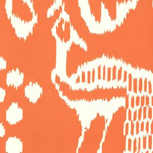 2430-45WP BALI II Orange On Off White Quadrille Wallpaper