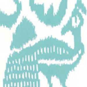 2435-51WP BALI ISLE Aqua On Almost White Quadrille Wallpaper