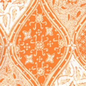 6630-04WP BALINESE BATIK Orange Cream On White Quadrille Wallpaper