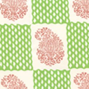5090-07WP BANGALORE New Shrimp Grass Green Quadrille Wallpaper