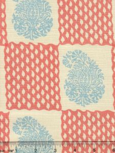 5090-06 BANGALORE New Blue New Shrimp on Tint Quadrille Fabric