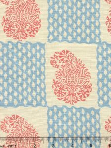 5090-05 BANGALORE New Shrimp New Blue  on Tint Quadrille Fabric
