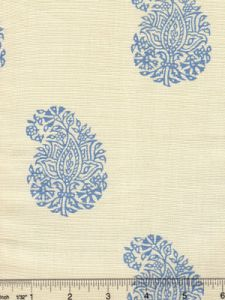 6040-01 BANGALORE PAISLEY French Blue on Tint Quadrille Fabric