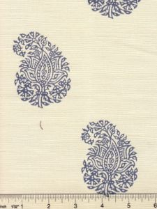 6040-02 BANGALORE PAISLEY Navy on Tint Quadrille Fabric